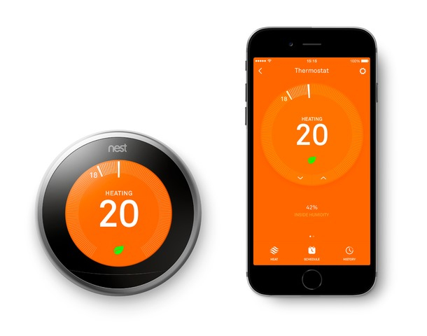 Picture of a Nest thermostat and the Nest dashboard on an iPhone